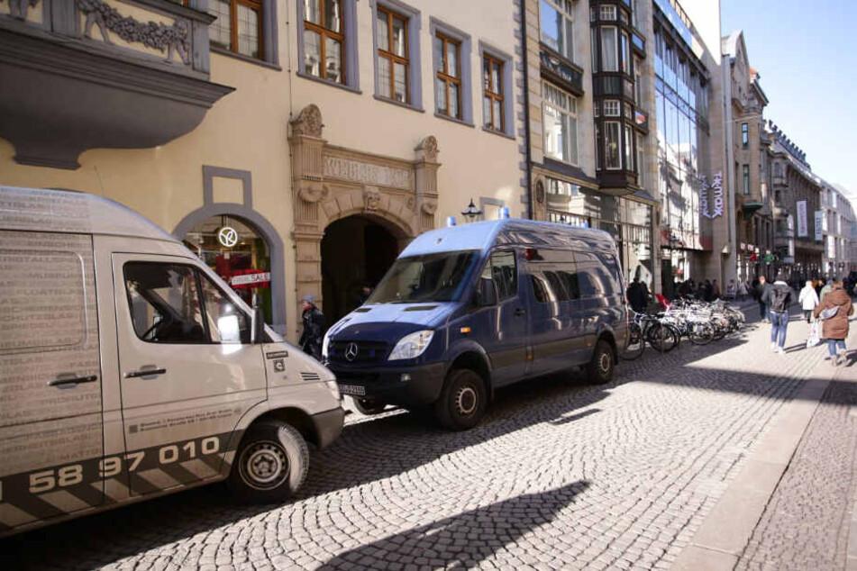 """Blick auf die Hainstraße in der Leipziger Innenstadt. Hier befindet sich """"Webers Hof""""."""