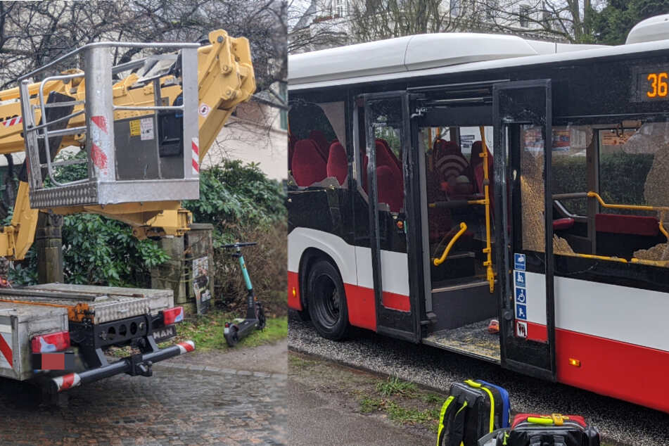 Drei Verletzte! Lastwagen mit Arbeitskorb kracht beim Einparken gegen Linienbus