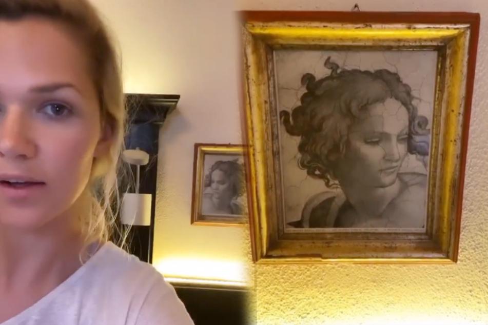 """Doppelgänger? Sara Kulka (29) sieht eine """"extreme Ähnlichkeit"""" zwischen sich und der Dame auf dem Porträt."""