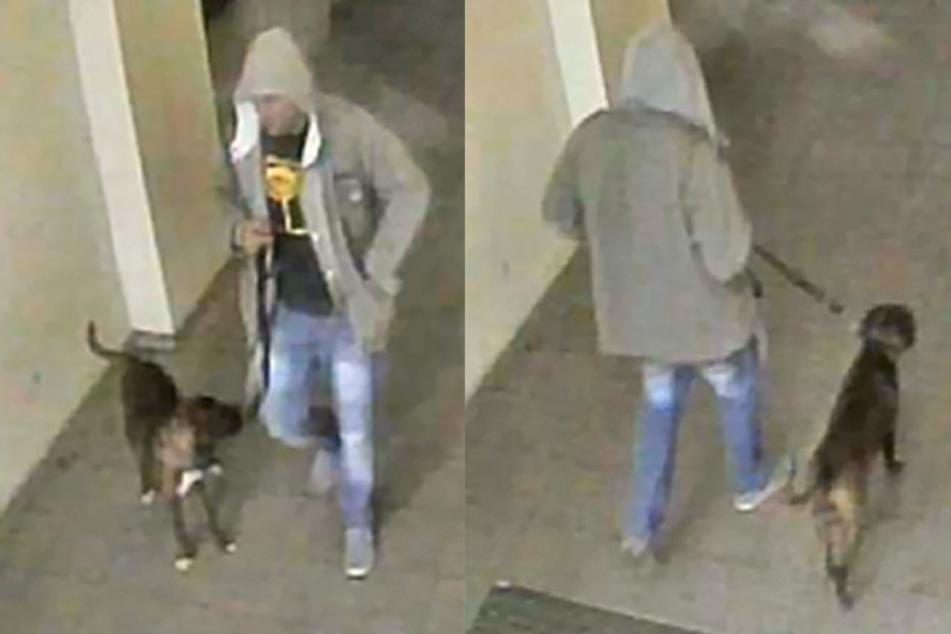 Die Polizei sucht diesen Mann mit Hund.