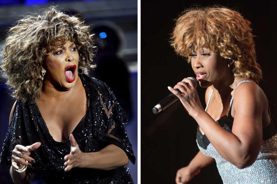 Laut Gericht sehen sich Tina Turner (2009, l) und und Turner Darstellerin Coco Fletcher (2017) zu ähnlich, sodass mit dem Plakat ein falscher Eindruck entstehen könnte.