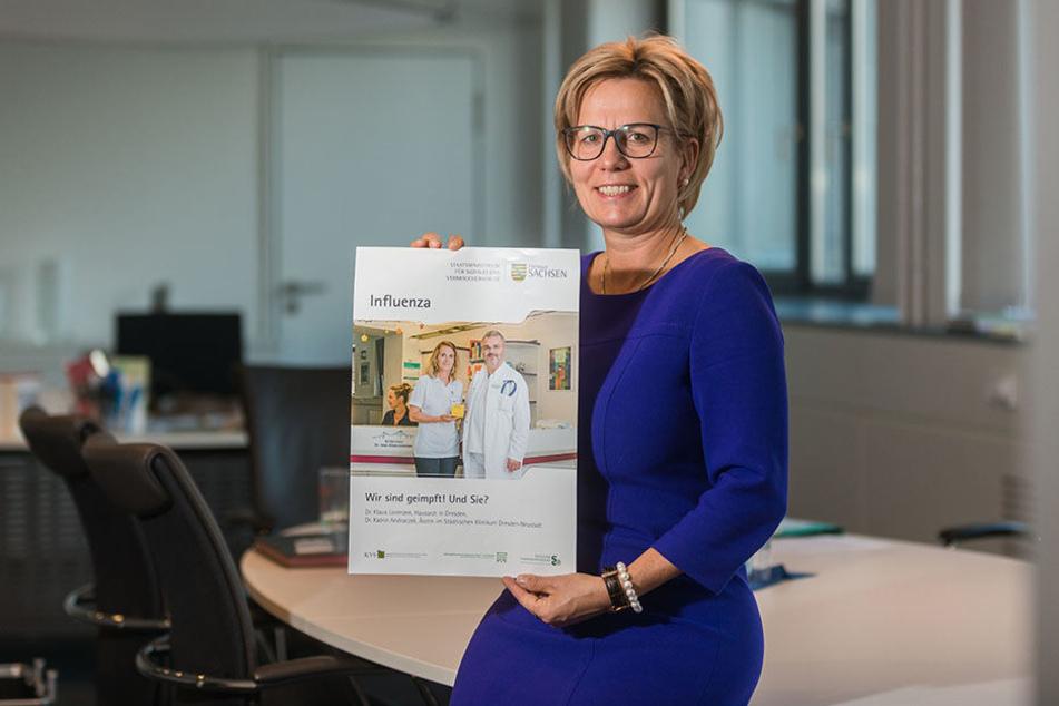 Gesundheitsministerin Barbara Klepsch (CDU, 52) wirbt für die Grippeschutzimpfung.