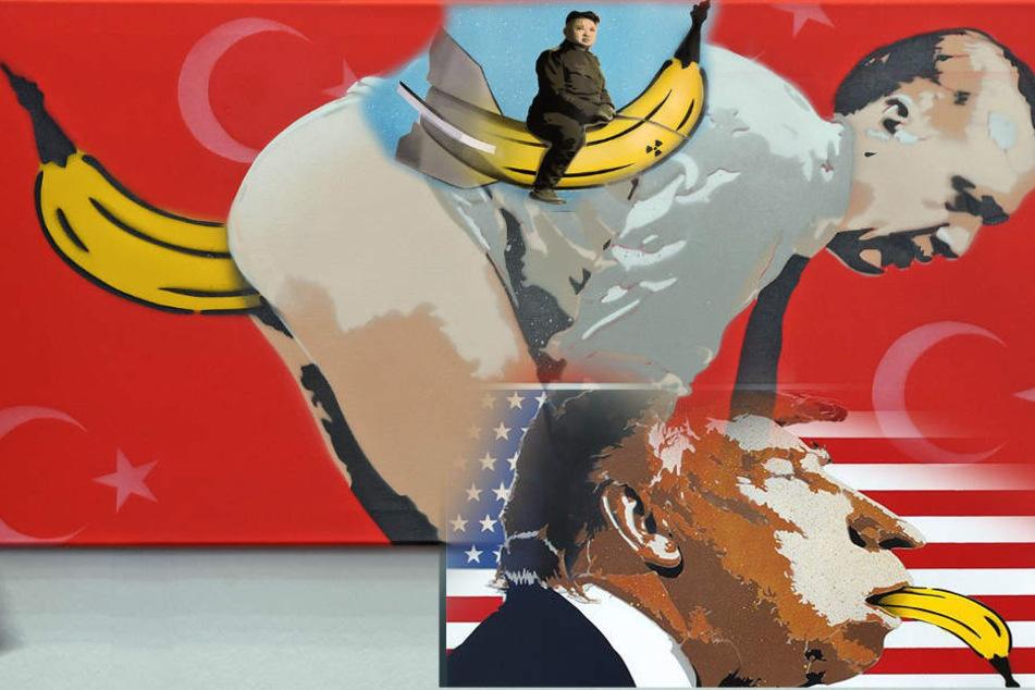 Einige Leute fanden die Erdogan-Karikatur wenig witzig. Dabei hat der Künstler noch weitere Machthaber auf die Banane genommen.