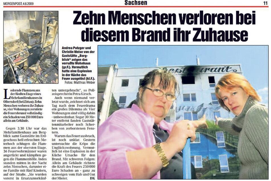 So berichtete die Morgenpost am 4. Juni 2009 über die Explosion.