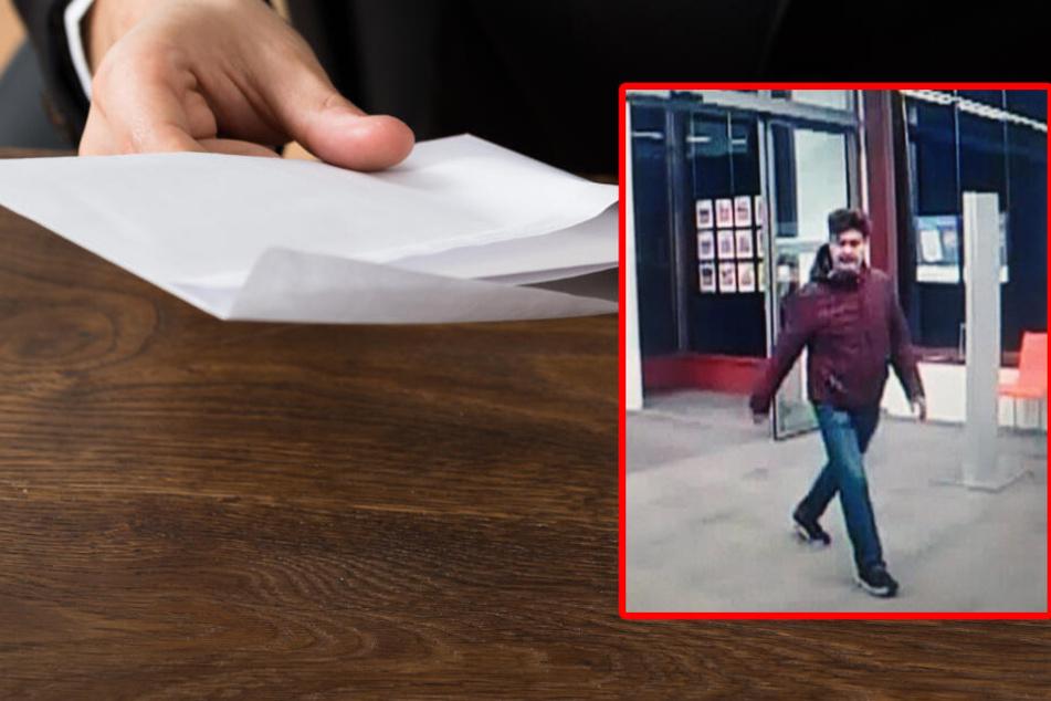 Die Polizei sucht diesen Mann, der eine vermeintlich gefährlichen Umschlag in einer Bank in Herrsching ablegte.