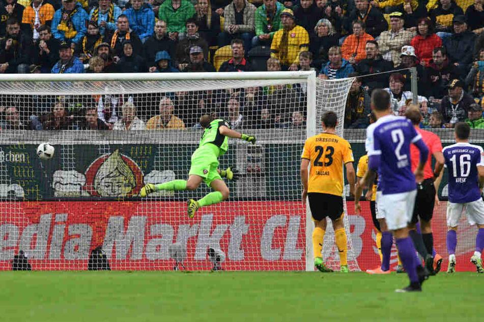 Mit diesem Treffer begann der Aue-Siegeszug und das Unheil für die Dynamos.