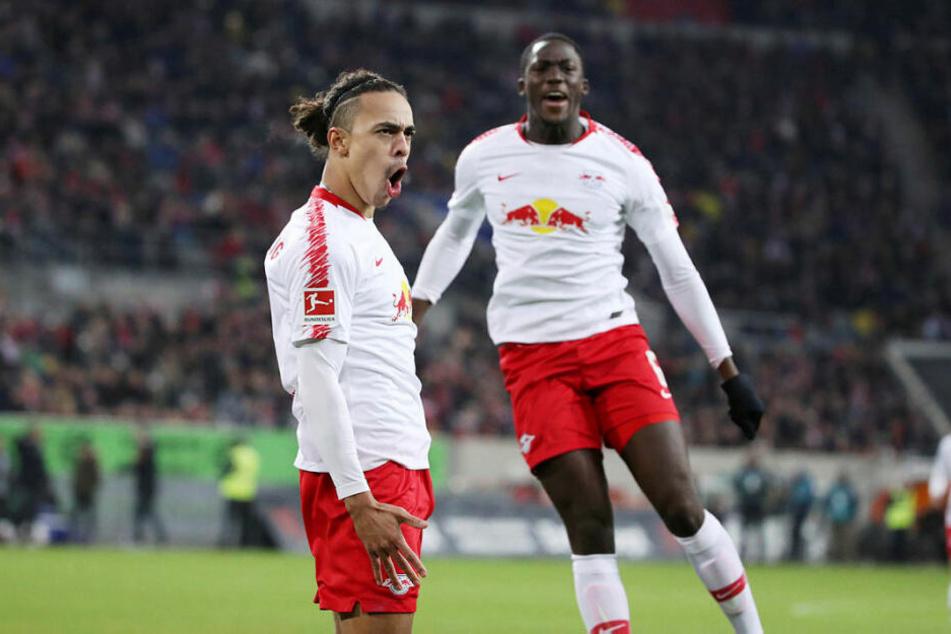 Während Yussuf Poulsen (l.) schon der vierte Doppelpack der Saison gelang, traf Konaté (r.) erstmals.