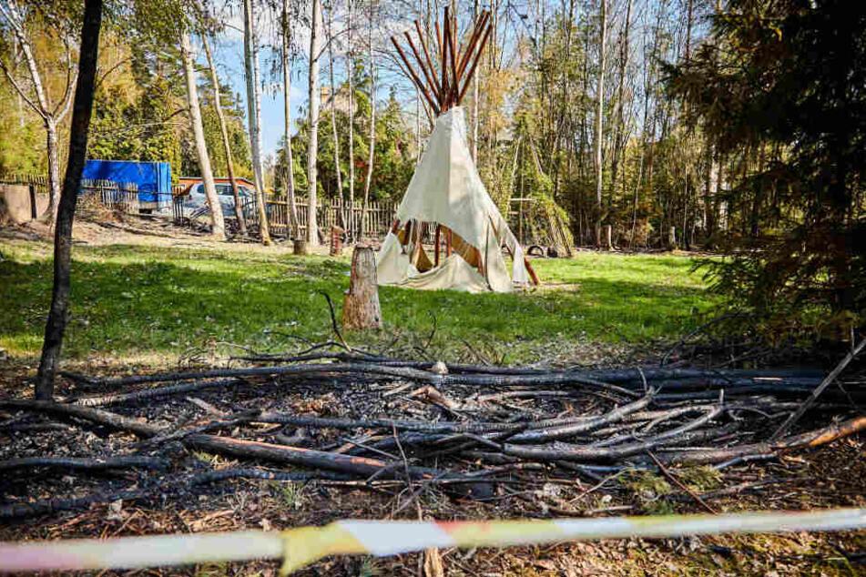 Von der Hecke blieb beim Indianerdorf nicht mehr viel übrig.