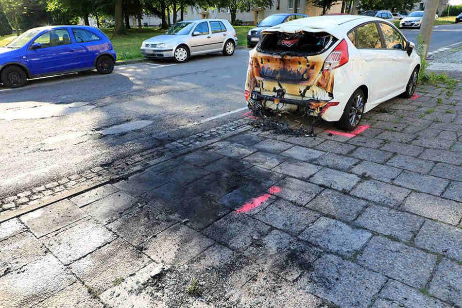 Ein davor parkender Ford Fiesta wurde durch die Flammen stark beschädigt.