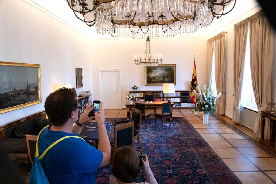 Begehrtes Fotomotiv: Das Amtszimmer des Bundespräsidenten in Schloss Bellevue.