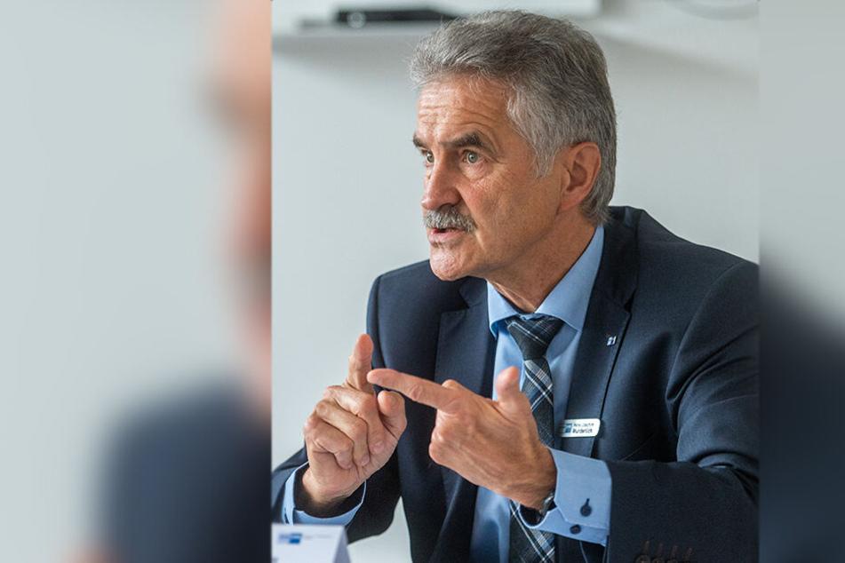 Hans-Joachim Wunderlich (65), Hauptgeschäftsführer der IHK Chemnitz, wünscht sich mehr Unterstützung von der Politik.