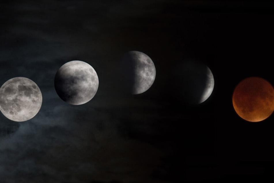 Der Ablauf der Mondfinsternis.