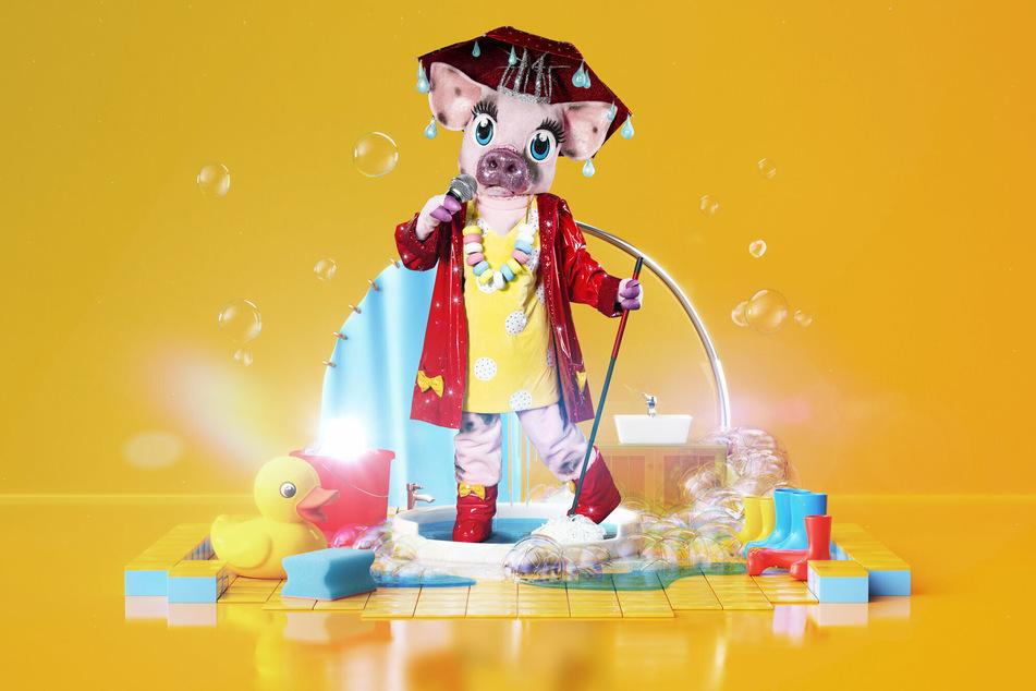 Dieses Schwein im Regenoutfit wurde am heutigen Donnerstag vorgestellt.