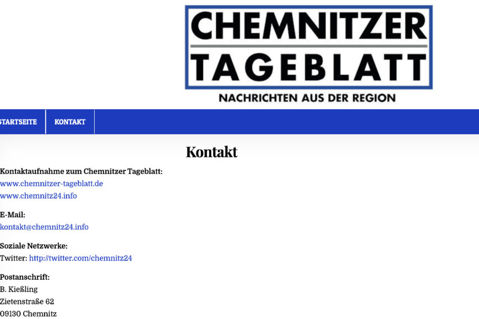 Das Impressum auf der Internetseite www.chemnitz24.info scheint nicht zu stimmen.