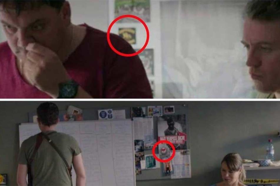 """Im Hintergrund sind an der Pinnwand """"Refugees Welcome""""- und Antifa-Sticker zu sehen."""