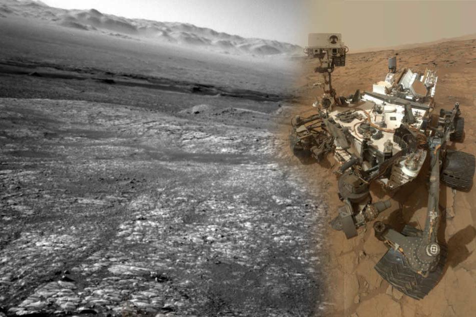 """Der Rover """"Curiosity"""" mit einem aktuellen Foto vom Mars."""