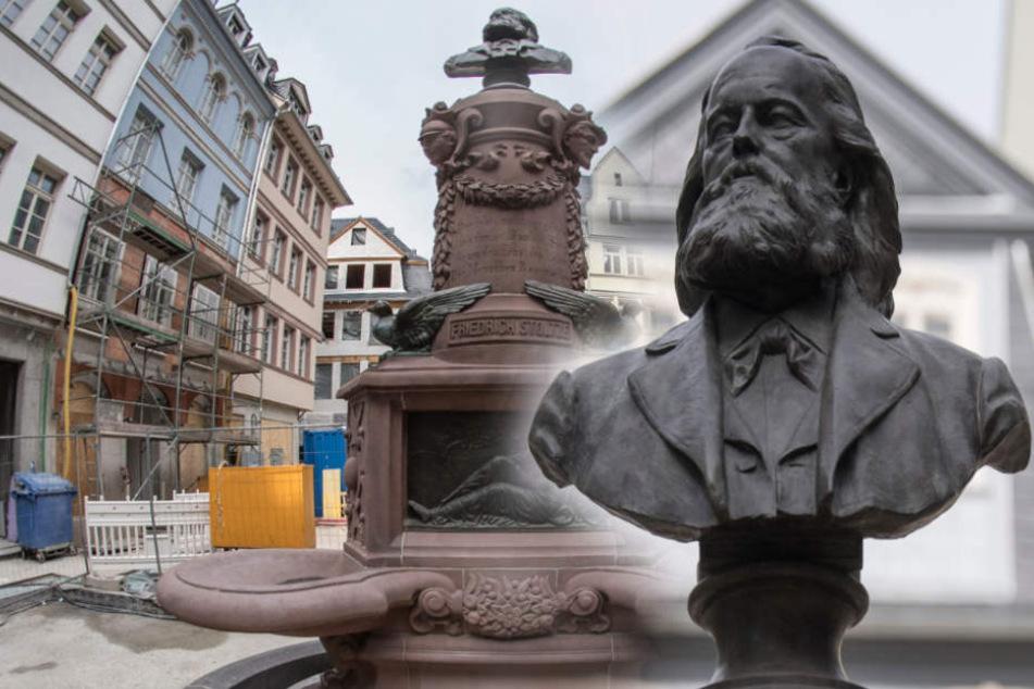 Nach erfolgreicher Restauration, endlich wieder auf seinem angestammten Platz: Der Friedrich-Stoltze-Brunnen.