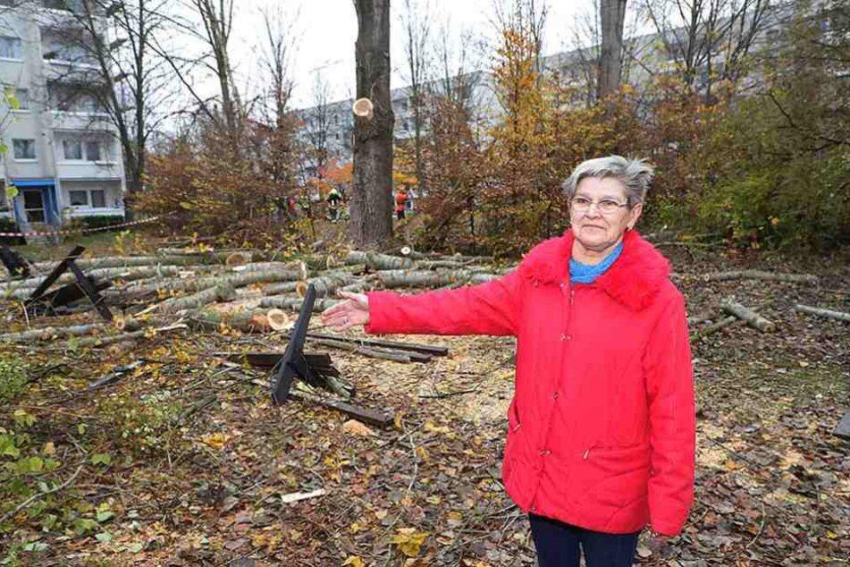 Endlich: Margitta Kramer (69) ist froh, dass die Bäume auf dem Spielplatz gefällt worden sind.