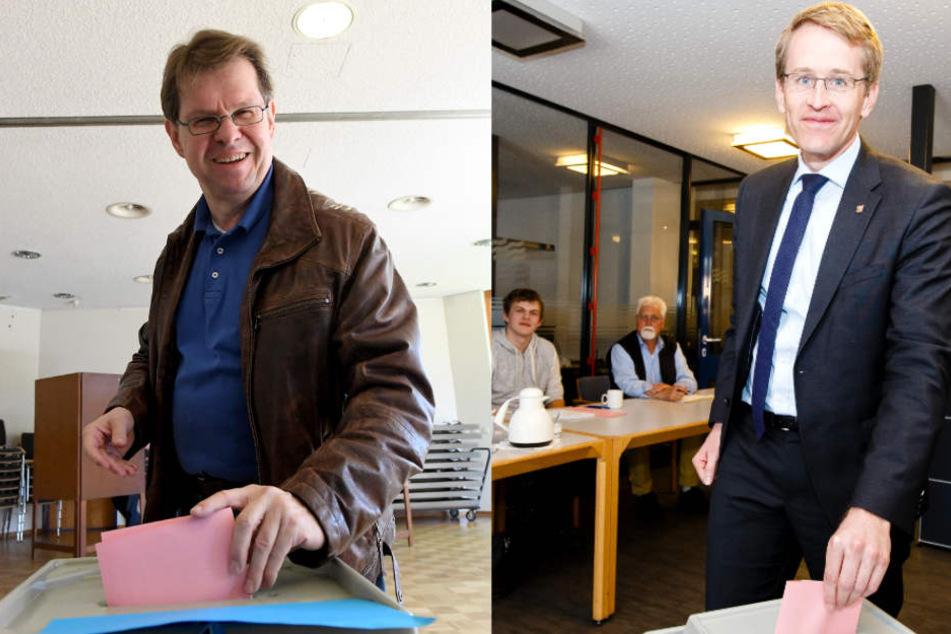 Ralf Stegner hatte am Morgen in Bordesholm und Daniel Günther hatte in Eckernförde gewählt