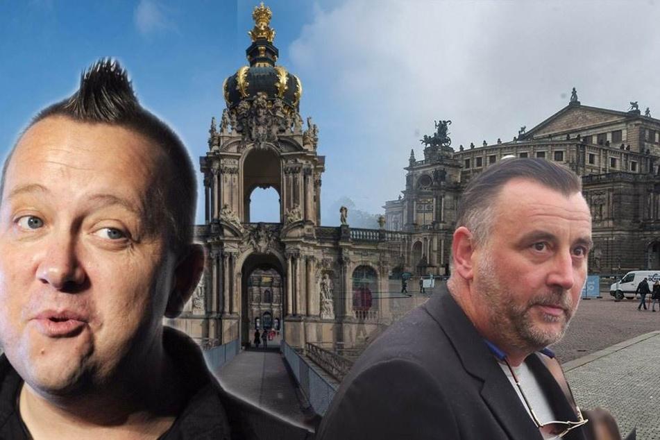 """Im Zwinger singt Sebastian Krumbiegel (li.) mit """"Dresden.Respekt"""" und auf dem Theaterplatz Lutz Bachmann mit PEGIDA."""