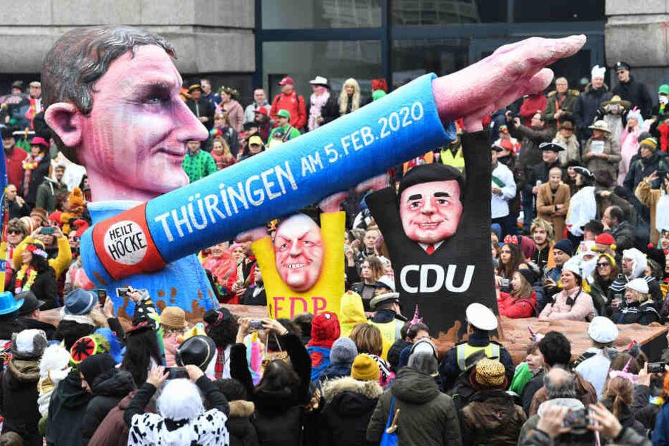 Die Wahl von Thomas Kemmerich mit Hilfe von AfD-Stimmen wurde auch beim Karneval immer wieder aufgegriffen.
