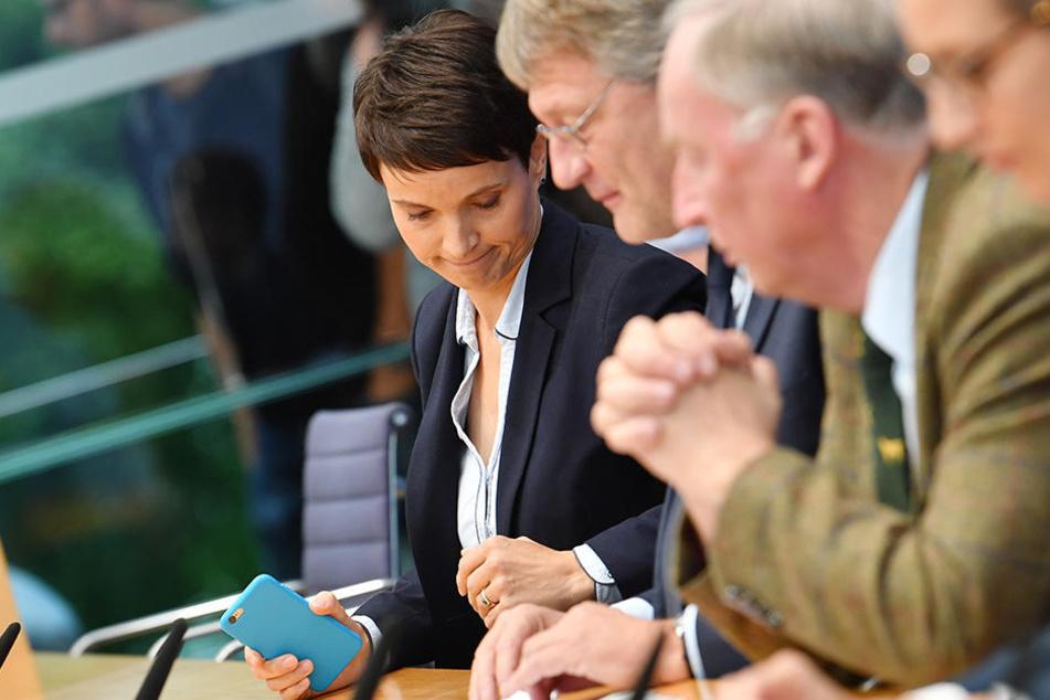 Betretene Mienen bei der AfD. Alexander Gauland (76, r.) und Jörg Meuthen (56, m.) empfinden den Schritt von Frauke Petry (42, l.) als falsch.