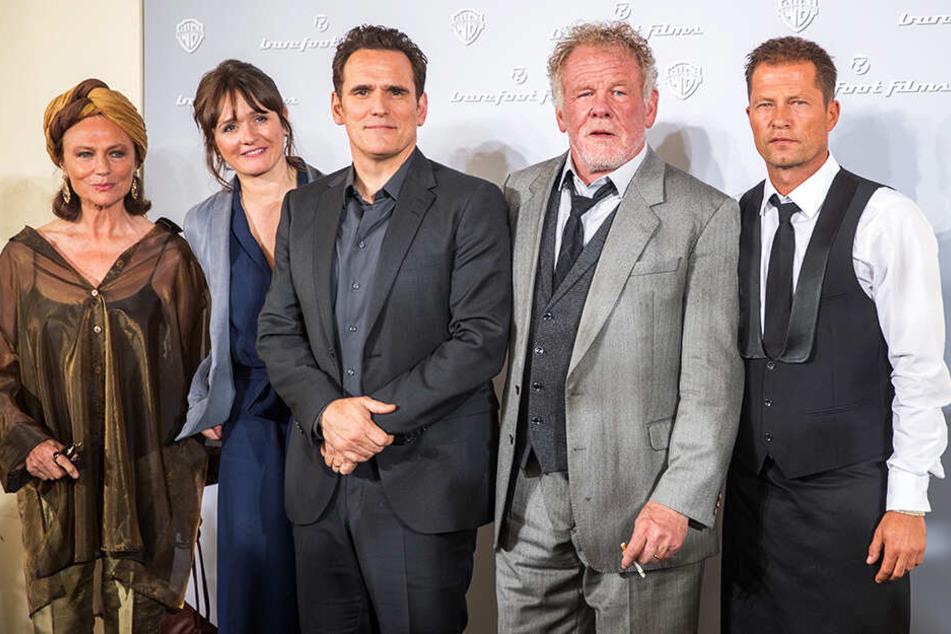 Regisseur Til Schweiger (v.r.n.l.) mit den Schauspielern Nick Nolte, Matt Dillon, Emily Mortimer und Jacqueline Bisset.