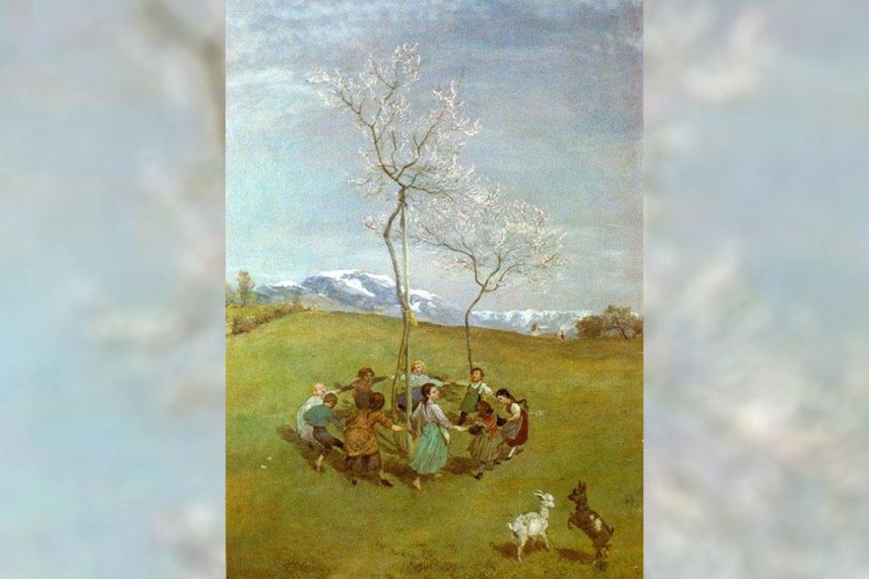 """Das Gemälde """"Frühling im Gebirge/Kinderreigen"""" von Hans Thoma."""