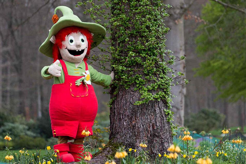 """Das Maskottchen """"Lippolino"""" hatte sichtlich Spaß an der riesigen Landesgartenschau in Bad Lippspringe."""