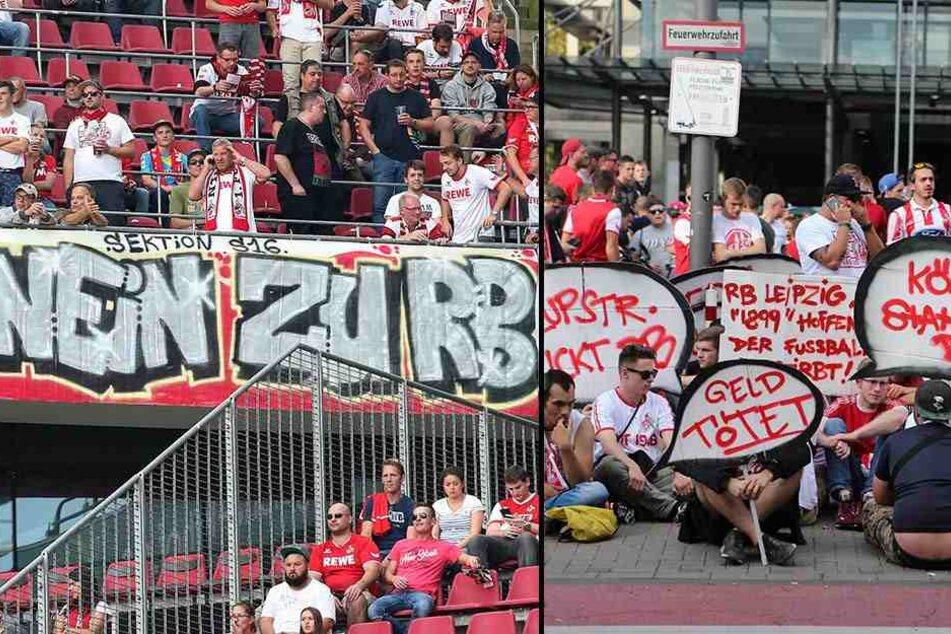 Köln-Fans blockierten die Einfahrt ins Stadion (r.). Es kam zu Verzögerungen, das Spiel musste später angepfiffen werden. Auch im Stadion gab es Plakate gegen RB Leipzig.