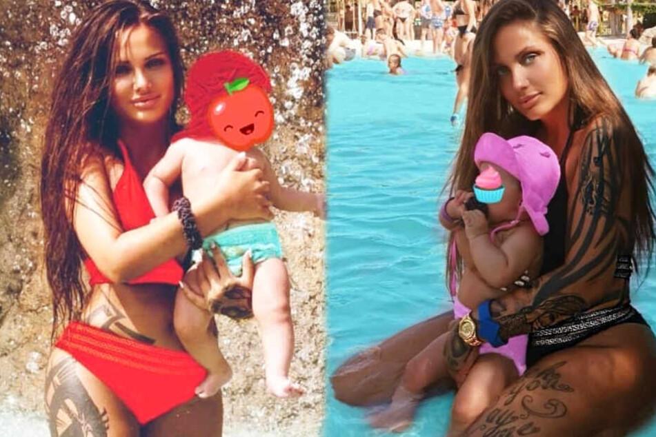 Schwesta Ewa und ihre Tochter Aaliyah Jeyla – die Montage zeigt zwei Screenshots aus dem Instagram-Profil der Rapperin.