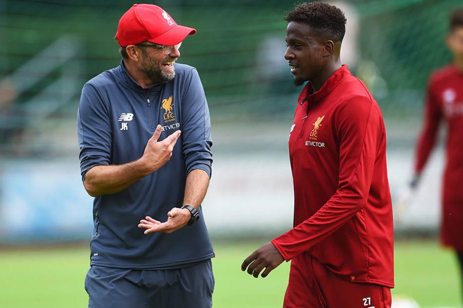 Hat wegen der starken Konkurrenz bei Liverpool unter Trainer Jürgen Klopp (l.) nur geringe Einsatzchancen: Divock Origi (r.).