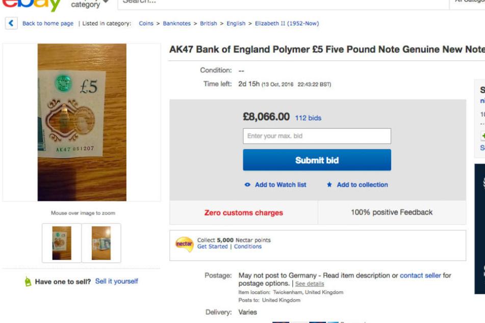 Das aktuelle Gebot für die 5-Pfund-Note liegt bei über 8000 Pfund.