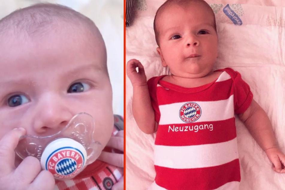 Der kleine Milan von Jenefer Riili und Matthias Höhn in voller FC Bayern-Montur.