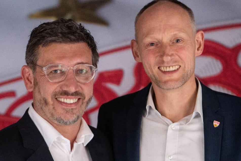 Claus Vogt (links im Bild) und Christian Riethmüller stehen am 15. Dezember bei der außerordentlichen Mitgliederversammlung des VfB Stuttgart zur Wahl des neuen Vereinspräsidenten.