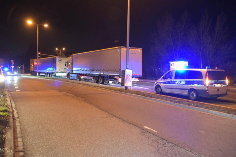 Die beiden Sattelzüge mit ihren drei Insassen wurden von der Polizei quer durch Mannheim verfolgt und letztlich gestoppt.