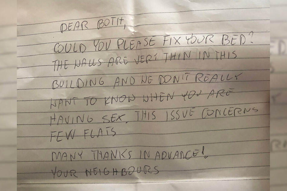 """""""Wir wollen nicht wirklich wissen, wann genau Ihr Sex habt."""" Es kann schon sehr unangenehm sein, wenn man so etwas von seinen Nachbarn zu lesen bekommt."""