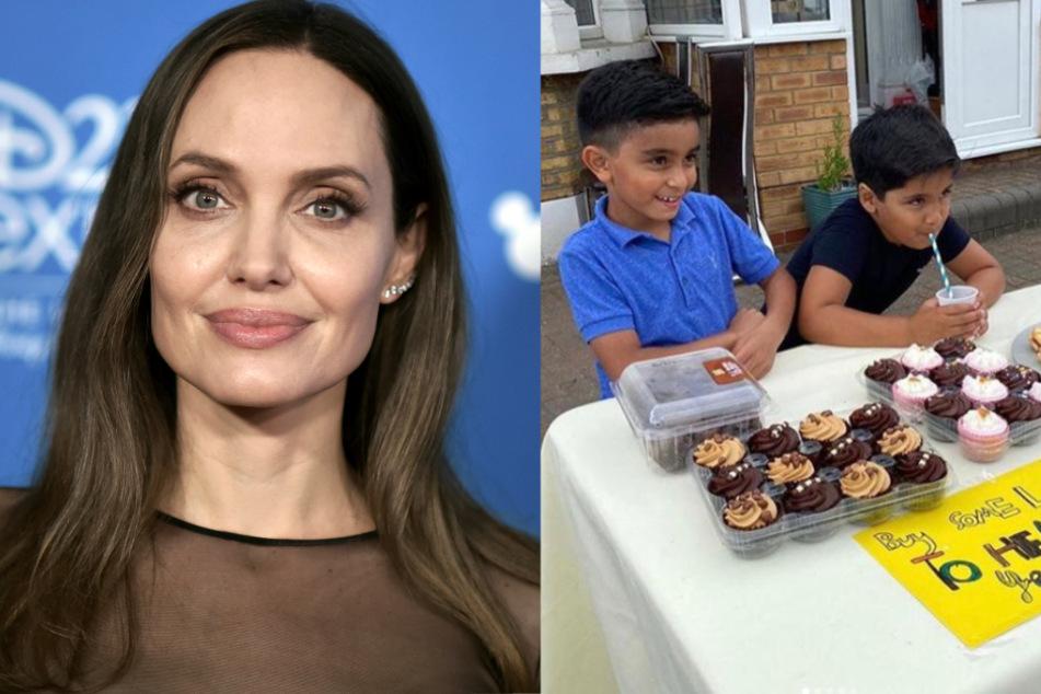 Jungs verkaufen Limonade am Stand: Angelina Jolie kommt ihnen zu Hilfe