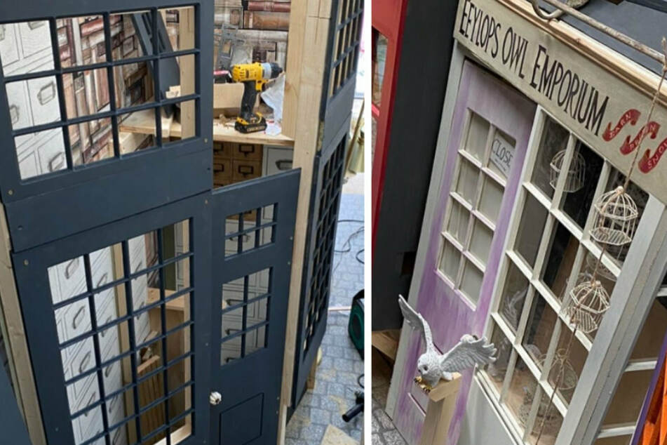 Many weeks of hard work were put into the creation of the family's very own Diagon Alley.