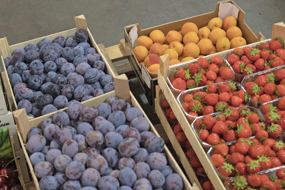 Obst steht am Großmarkt vor einem Lastwagen. Der Umsatz mit Obst und Gemüse ist wegen der Kochfreude in der Corona-Pandemie gestiegen.
