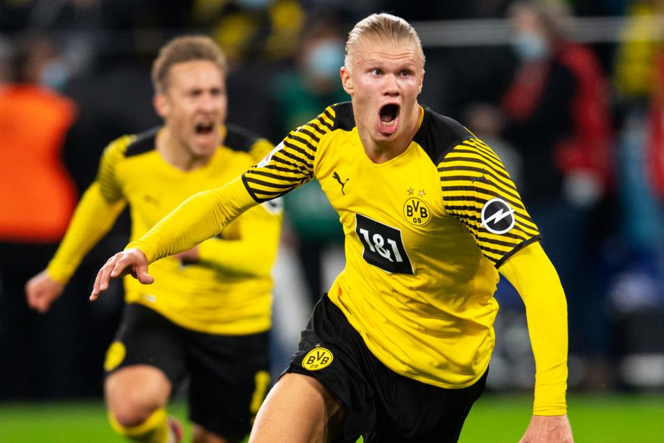 Erling Haaland (21, r.) beruhigte die Dortmunder Gemüter mit seinem Last-Minute-Treffer.