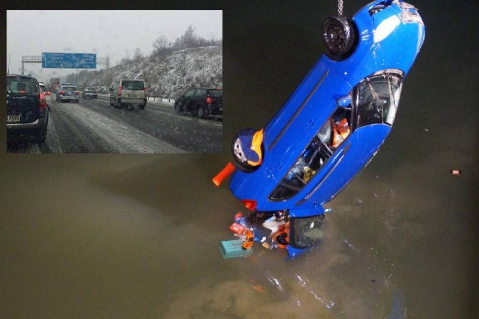 Auto schlittert in Fluss. Hunderte Unfälle auf Eis-Straßen