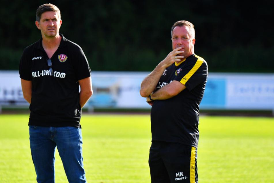 Sportdirektor Ralf Becker (l.) und Trainer Markus Kauczinski gehen seit Sommer bei Dynamo gemeinsam das Projekt Wiederaufstieg an.