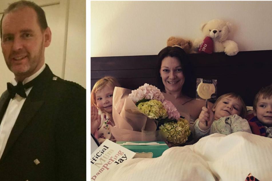 Gemeinsam mit ihren drei Kindern genießt Joan den Muttertag im Jahr 2016 (rechts). Ihr Ehemann Ryan lächelt in die Kamera (links).