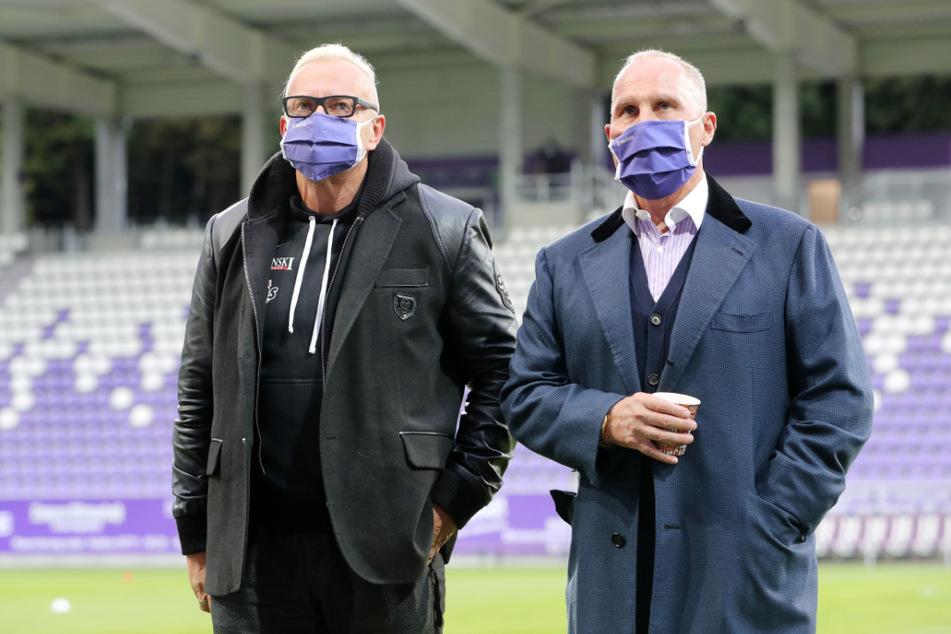 FCE-Boss Helge Leonhardt (62, r.) und Geschäftsführer Michael Voigt (46) hoffen darauf, dass Aue bestmöglich abschneidet. Das wäre gut fürs TV-Geld.