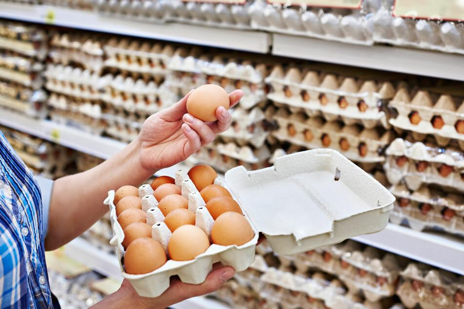 Eine Frau hält eine Verpackung mit Eiern in der Hand.