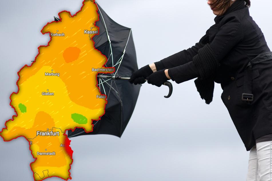 """Stürmisch, nass und kalt: Tief """"Eugen"""" macht's den Hessen ungemütlich"""