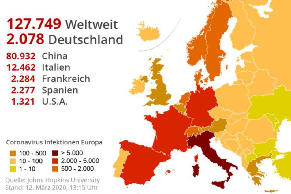 Italien hat innerhalb Europas mit Abstand die meisten Infektionen gemeldet.