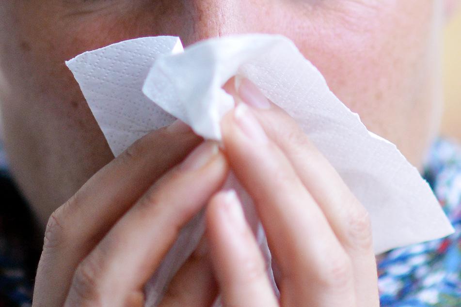 Eine Frau putzt sich die Nase. Die saisonale Grippe ist wahrscheinlich durch die Corona-Maßnahmen ausgebremst worden.