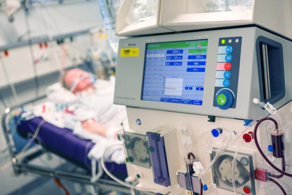 Ein Patient liegt während seines Aufenthalt im Krankenhaus Großhadern in einem Intensivzimmer an einem Beatmungsgerät und einem Dialysegerät (im Vordergrund). Beatmungsgeräte gelten in der Corona-Krise als essenziell für die Behandlung von Patienten. Gleichzeitig birgt die Therapieform eine Reihe von Nebenwirkungen. Der Entzündungshemmer Dexamethason könnte die Sterberate bei schweren Covid-19-Verläufen senken.